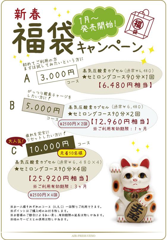 福袋キャンペーン★高気圧酸素カプセル90分2500円〜